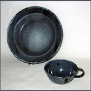 GRAY PLATE and CUP